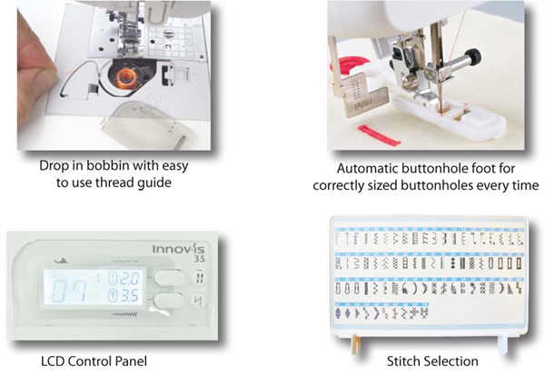 Embroidery Stitches and LCD Control Panel
