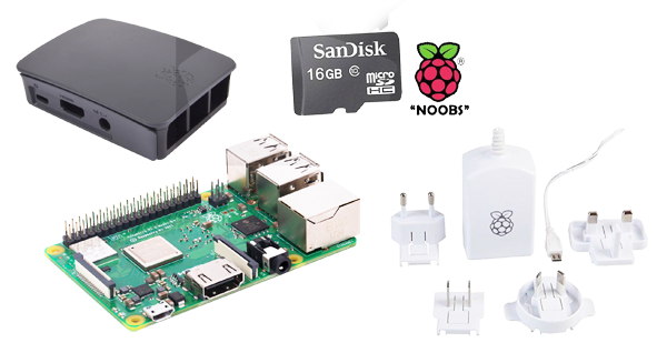 Raspberry Pi 3 Model B+ c/w SD Card, Power Supply and Case