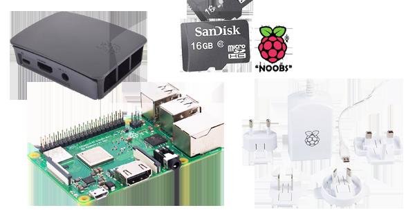 Raspberry Pi 3 Model B+ c/w SD Card, Power Supply and Case