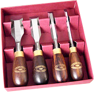 Crown 4 Pc Butt Chisel Set in Wood Box