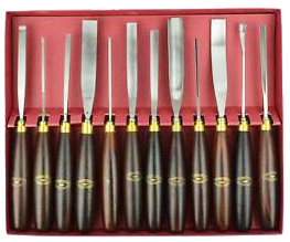 Crown 12 Pc Professional Woodcarving Chisel Set in Wooden Box