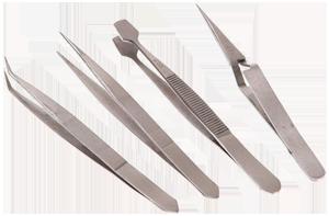 4 Piece Stainless Steel Tweezer Set
