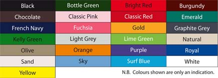 Cotton Cap Colour Chart