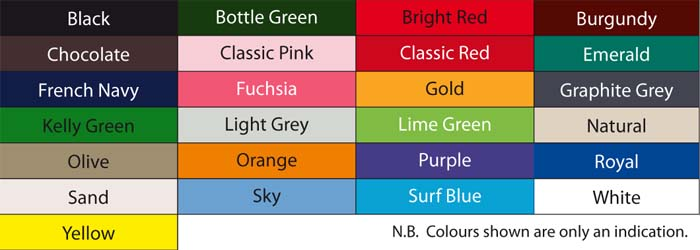 Cotton Cap Colour Chart