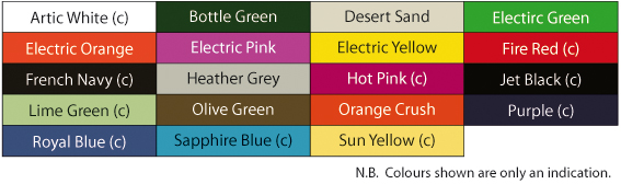 Polo Shirts Colour Chart