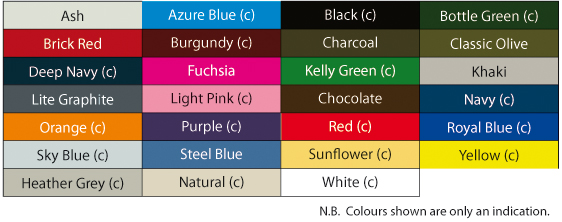 T-Shirts Colour Chart