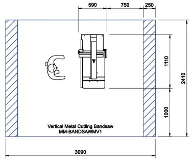 KV40 Metal Cutting Vertical Bandsaw CAD Drawing